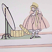 6 Unused ART DECO Place Cards - Little Girl Dressing Up in Front of a Mirror!