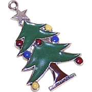 Vintage STERLING SILVER & Enamel Charm by Carl-Art - Christmas Tree with Lights!