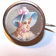 Sweet ANTIQUE EDWARDIAN Hand Painted Portrait Miniature of a Lady Set into a Brooch/Pin