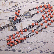 C.1910 Art Nouveau FRENCH SILVER & Coral Bead Rosary!