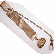 ANTIQUE EDWARDIAN Rose Gold Filled Watch Fob Chain with Fob!