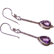 Vintage STERLING SILVER & Amethyst Drop Earrings - Pierced Earrings!
