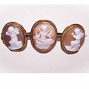ANTIQUE VICTORIAN 10K Gold & Cornelian Shell Cameo Pin - 3 Panels of Putti/Angels/Cherubs!
