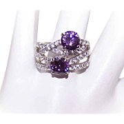 Vintage STERLING SILVER & Rhinestone Fashion Ring - White & Purple Rhinestones!