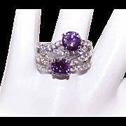 Vintage STERLING SILVER & Rhinestone Fashion Ring - White & Purple Rhinestones!