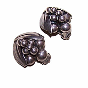Vintage Scandinavian STERLING SILVER Clip Earrings!