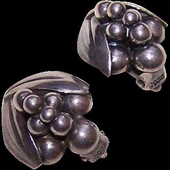 Vintage Scandinavian STERLING SILVER Clip Earrings!