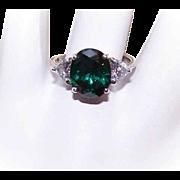 Vintage STERLING SILVER & Rhinestone Fashion Ring - White & Emerald Green Rhinestones!