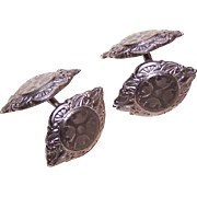 ANTIQUE EDWARDIAN 14K Gold Front Engine Turned Cufflinks by Belais!