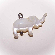 Vintage HAND CARVED Mother of Pearl Charm - Elephant!