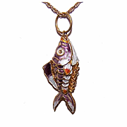 Vintage GOLD TONE Metal & Enamel Articulated Gold Fish/GoldFish Charm or Pendant!