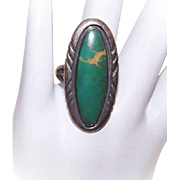 FRED HARVEY Era Sterling Silver & Turquoise Native American Ring!