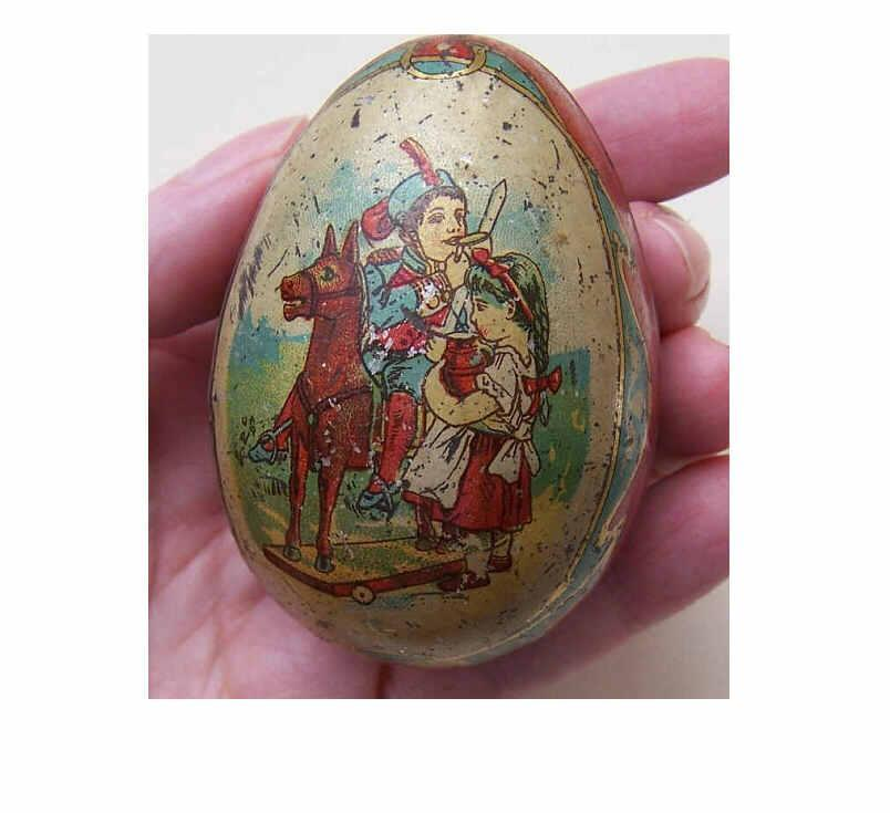 ANTIQUE VICTORIAN Lithographed Tin Easter Egg Candy Container!