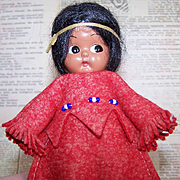 Vintage Hard Plastic Doll by Carlson - Indian Maiden - Original Tag!