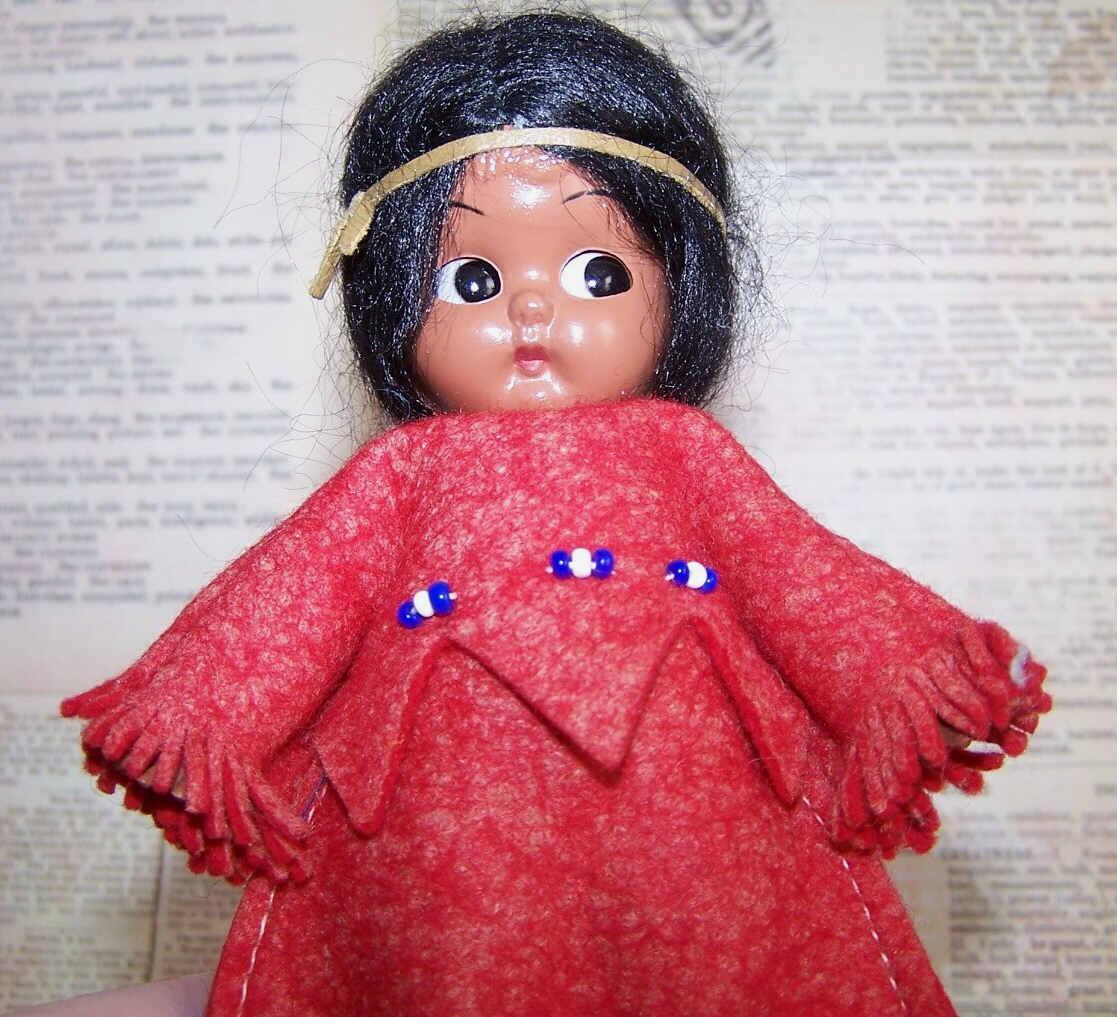 Vintage Rattle Doll by Carlson - Indian Maiden - Original Tag!