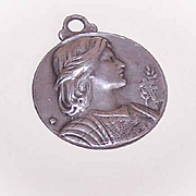 Vintage FRENCH SILVERPLATE Medal/Pendant - Saint Joan of Arc!