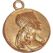Dated 1909 FRENCH Gold Tone Medal or Pendant - Lovely Lady Front!