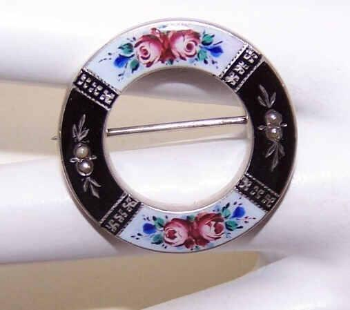 ANTIQUE VICTORIAN Silver, Enamel & Seed Pearl Pin - Handpainted Florals!