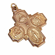 OLD STORE STOCK! Vintage 14K Gold Religious 4 Way Medal - Never Worn!