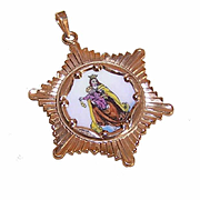 Vintage SPANISH 10K Gold & Porcelain Enamel Religious Charm - Our Lady of the Scapular!