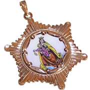 Vintage SPANISH 10K Gold & Porcelain Enamel Religious Charm - Our Lady of the Scapular!