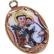 Vintage SPANISH 14K Gold & Porcelain Enamel Religious Charm - Saint Anthony & Infant Jesus!