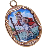 Vintage SPANISH 14K Gold & Porcelain Enamel Religious Charm - Saint Christopher!
