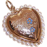 OLD STORE STOCK! 14K Gold, Cultured Pearl & Enamel Heart Pendant/Charm by Carl-Art!