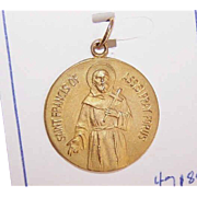 OLD STORE STOCK! Vintage 14K Gold Religious Medal - Saint Francis of Assisi!