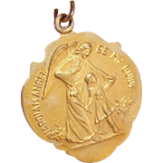 OLD STORE STOCK! Vintage 14K Gold Religious Medal - My Guardian Angel!