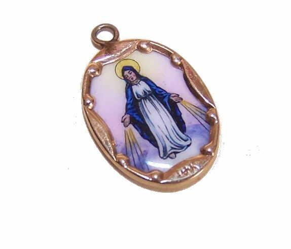 Vintage SPANISH 14K Gold & Porcelain Enamel Religious Charm - Miraculous Medal/Virgin Mary!