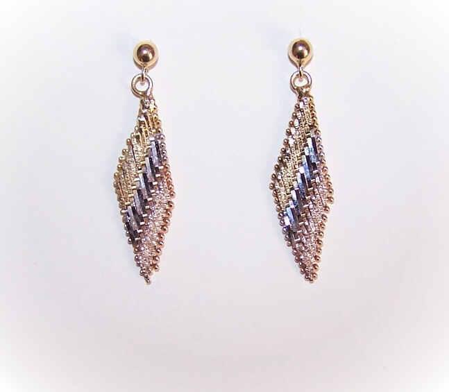 Vintage STERLING SILVER Vermeil (Tri-Gold) Drop Earrings!
