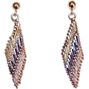 Vintage STERLING SILVER Vermeil (Tri-Gold) Drop Earrings!