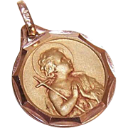 Lovely ART DECO French 18K Gold Filled Pendant - Infant John the Baptist - ORIA!