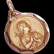 Lovely ART DECO French 18K Gold Filled Pendant - Infant John the Baptist - ORIA!