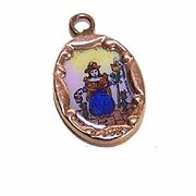Vintage SPANISH 14K Gold & Porcelain Enamel Religious Charm - El Santo Nino de Atocha!