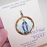 OLD STORE STOCK! Spanish 10K Gold & Porcelain Enamel Religious Charm - Miraculous Medal!