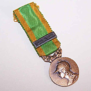 Vintage FRENCH Bronze Colored Medal with Original Ribbon - GALLIA!