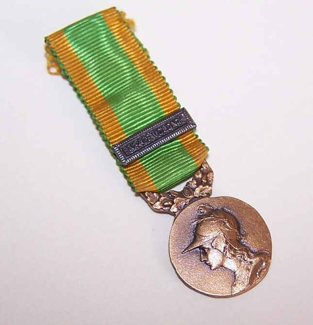 Vintage FRENCH Bronze Colored Medal with Original Ribbon - The Goddess GALLIA!