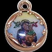 Vintage SPANISH 14K Gold & Porcelain Enamel Religious Charm - Our Lady of Perpetual Help!