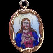 Vintage SPANISH 14K Gold & Porcelain Enamel Religious Charm - Sacred Heart of Jesus!