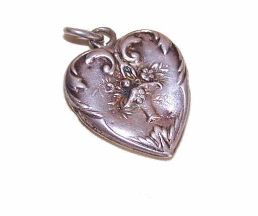 Edwardian FRENCH SILVER Puffy Heart Charm - Basket of Flowers!