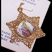 OLD STORE STOCK! Spanish 10K Gold & Porcelain Enamel Religious Charm - Our Lady of Mount Carmel!