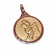 ART DECO French 18K Gold Filled Pendant - Saint Christopher Medal - ORIA!
