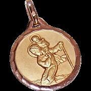ART DECO French 18K Gold Filled Pendant - Saint Christopher Medal - ORIA!