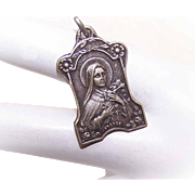 Vintage FRENCH SILVERPLATE Medal/Pendant - Saint Theresa!