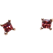 Vintage 14K Gold & .50CT TW Raspberry Tourmaline Pierced Earrings (Studs)!