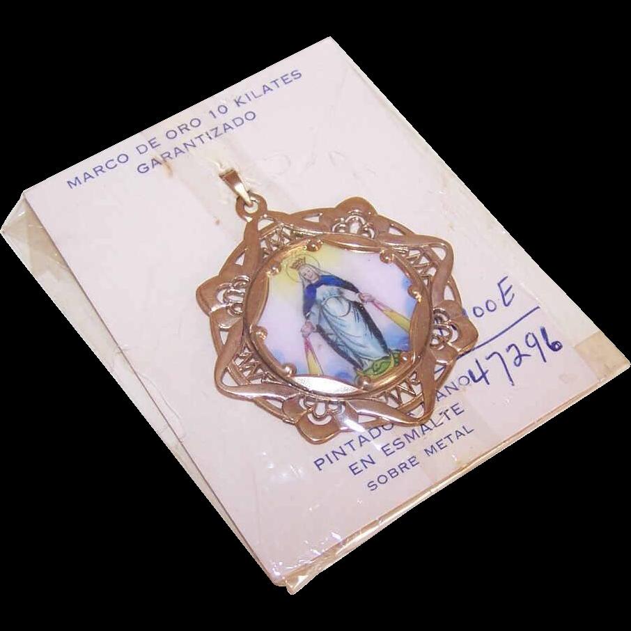 OLD STORE STOCK! Spanish 10K Gold & Porcelain Enamel Religious Charm - Virgin Mary/Miraculous Medal!