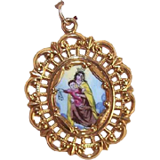 OLD STORE STOCK! Spanish 10K Gold & Porcelain Enamel Religious Charm - Our Lady of Mount Carmel!