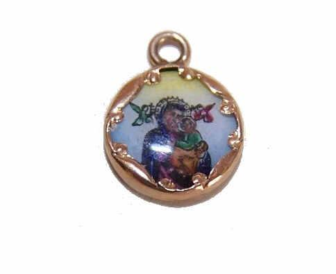 Vintage SPANISH 14K Gold & Porcelain Enamel Religious Charm - Our Lady of Perpetual Help!